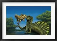 Framed Spinosaurus dinosaur fishing Mawsonias in a mangrove