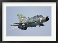 Framed Bulgarian Air Force MiG-21UM in flight over Bulgaria