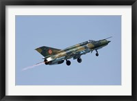 Framed Romanian Air Force MiG-21 Lancer with afterburner, Romania