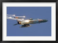 Framed Romanian Air Force MiG-21 MF LanceR popping flares