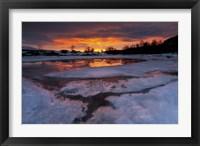 Framed fiery sunrise over Lavangsfjord, Troms, Norway