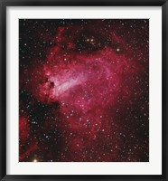 Framed Messier 17, The Swan Nebula in Sagittarius