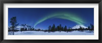 Framed Panoramic view of the Aurora Borealis over Nova Mountain Wilderness, Norway
