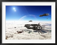Framed Five medium freighters deccelerate near their destination