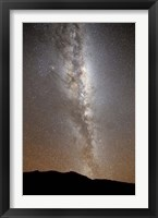 Framed Milky Way in vertical position rising from the horizon