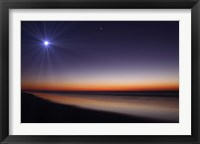 Framed Moon and Venus at twilight from the beach of Pinamar, Argentina