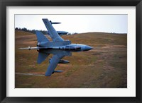 Framed Royal Air Force Tornado GR4 during low fly training in North Wales