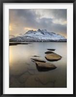 Framed Novatinden Mountain and Skoddeberg Lake in Troms County, Norway