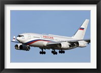 Framed Ilyushin Il-96 airliner prepares for landing