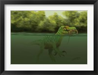 Framed Baryonyx escapes swimming from a brawl with a Hypsilophodon in his mouth