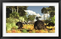Framed Prehistoric glyptodonts graze on grassy plains