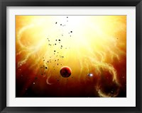 Framed Artist's concept of a manned expedition to the inner planets of a raging star