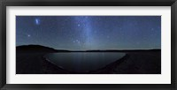 Framed panoramic view of the Milky Way and La Azul lagoon in Somuncura, Argentina