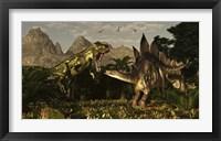 Framed large carnivorous Torvosaurus preying on a Stegosaurus