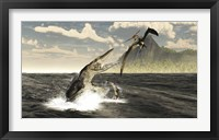 Framed Tylosaurus jumps out of the water, attacking a Pteranodon