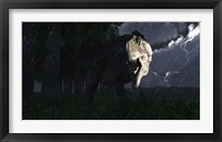 Framed Acrocanthosaurus dinosaur on a stormy night
