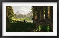 Framed Ceratosaurus dinosaurs stalk a herd of Camptosaurus eating plants