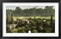 Framed Lurdusaurus and Nigersaurus dinosaurs grazing a prehistoric forest