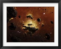 Framed nebula evaporates in the far distance of an asteroid field
