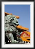 Framed Bronze mythological lion statue, Forbidden City, Beijing, China