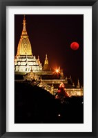 Framed Asia, Myanmar, Bagan, moon rising over Ananda temple