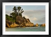Framed Anse-Source D'Argent coastline, Seychelles, Africa