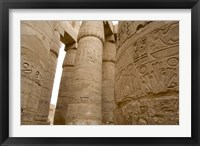 Framed Hieroglyphic covered columns in hypostyle hall, Karnak Temple, East Bank, Luxor, Egypt