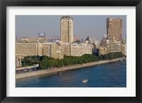 Framed Corniche El Nil, Nile River, Cairo, Egypt