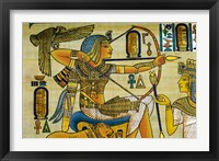 Framed Egypt, hand painted papyrus hunting scene