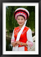 Framed Bai Minority Woman in Traditional Ethnic Costume, China