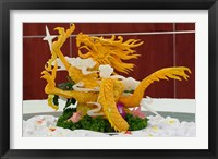 Framed Dragon carved from pumpkin, Yellow Mountain, China