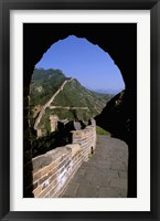 Framed Great Wall of China Viewed through Doorway, Beijing, China