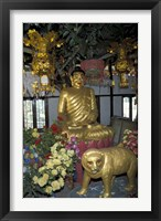 Framed Gold Tiger and Bhuddha Sculpture at the Golden Temple, China