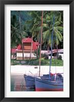 Framed Colorful Sailboats at Harbor, Seychelles