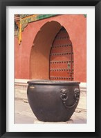 Framed Fire Kettle by Doorway of the Palace Museum, Beijing, China