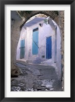 Framed Blue Doors and Whitewashed Wall, Morocco