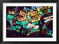 Framed Double exposure, casino signs, Las Vegas, Nevada.