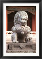 Framed China, Beijing, Forbidden City. Bronze lion statue
