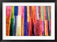 Framed Colorful Silk Scarves at Edfu Market, Egypt