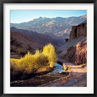 Framed Afghanistan, Bamian Valley, Dirt road and stream