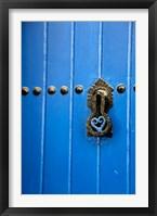 Framed Blue Door of Kasbah of Oudaya, UNESCO World Heritage Site, Rabat, Morocco, Africa