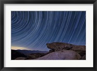 Framed Star trails and a granite rock outcropping overlooking Anza Borrego Desert State Park