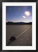 Framed Star trails at the Racetrack Playa in Death Valley National Park, California