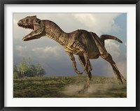 Framed Allosaurus running in an open field