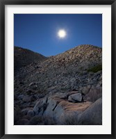 Framed Moonlight illuminates the rugged terrain of Bow Willow Canyon, California