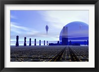Framed Futuristic City in the Milky Way
