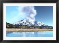 Framed Mount Saint Helens simmers after the volcanic eruption