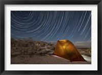 Framed Star trails above a campsite in Anza Borrego Desert State Park, California