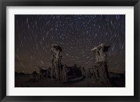 Framed Star trails above sand tufa formations at Mono Lake, California