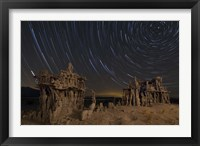 Framed Star trails and intricate sand tufa formations at Mono Lake, California